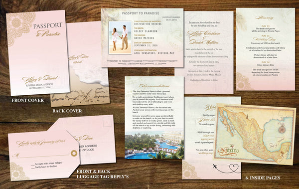 Gold Blush Pink Passport Invites for Destination Wedding | Shimmer Henna Paisley | Luggage Tag | Mexico | Cabo | Punta Cana | Caribbean - idowithyouweds