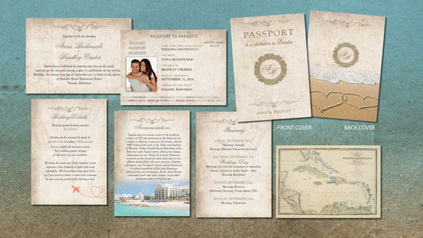 Passport Wedding Invitation Booklets | Antique Vintage Sepia Rustic | Gold Frame Aged Paper | Passport to Paradise - idowithyouweds