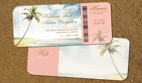 Hawaii Boarding Pass Save the Dates | Destination Wedding Invitations Vintage | Blush Pink Gold | Palm Tree | Travel Beach Wedding - idowithyouweds