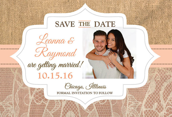 Save the Date Burlap and Lace | Peach Coral | Rustic Cottage Natural | Wedding Announcement - idowithyouweds