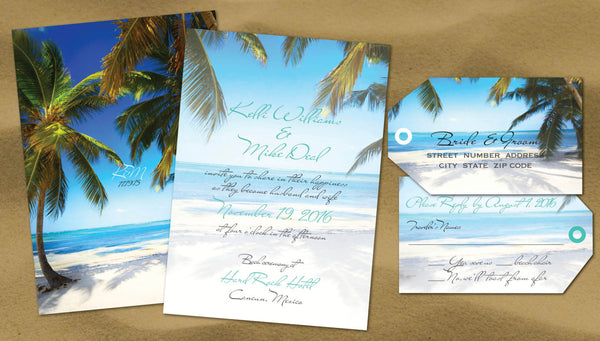 Beach Wedding Invitation | Aqua Blue | Palm Trees | Luggage Tag Replies - idowithyouweds