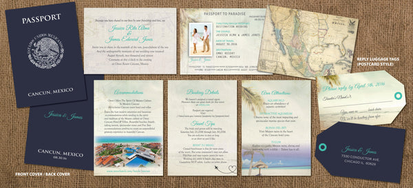 Passport Destination Wedding Invitation with Luggage Tag Replies | Beach Cermony | Mexico | Cabo | Jamaica - idowithyouweds