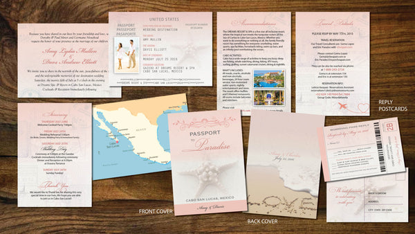 Invitations Destination Passport | Boarding Pass RSVP Cards | Soft Blush Corals Vintage - idowithyouweds