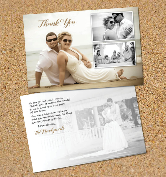 Thank You Cards Destination Beach Wedding | Sand Ocean Setting | Wedding Photos | Personal Message | Treasured Memories - idowithyouweds