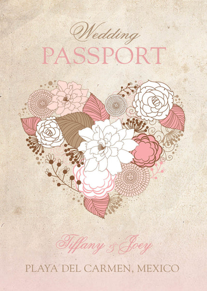 Passport Invitations Blush Pink | Destination Wedding Mexico Cabo Punta Cana | Rustic Blush Tan Gold | Shabby Cottage Chic Floral Heart - idowithyouweds
