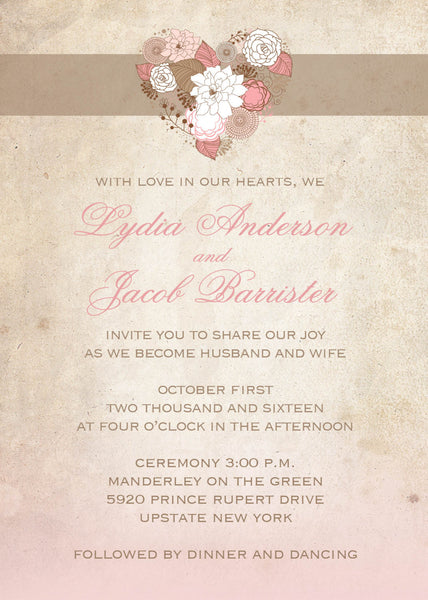 Vintage Heart Local Wedding Invitation Set | Cottage Chic Pale Blush Pink & Tan | Pastel Delicate Flowers | Distressed Paper| Affordable Invites - idowithyouweds