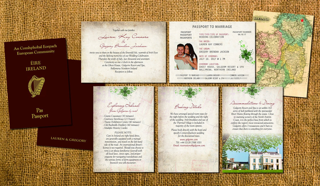 Ireland Passport Wedding Invitations | Destination Travel Wedding ...