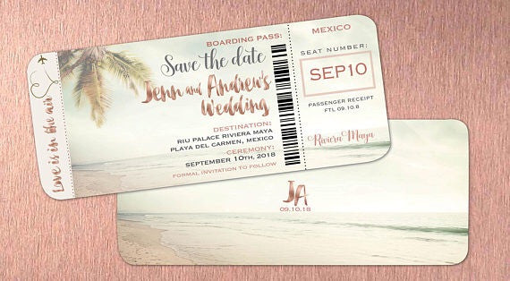 Rose Gold Boarding Pass Save the Dates Shimmer Font Lettering | Travel Destination Wedding - idowithyouweds