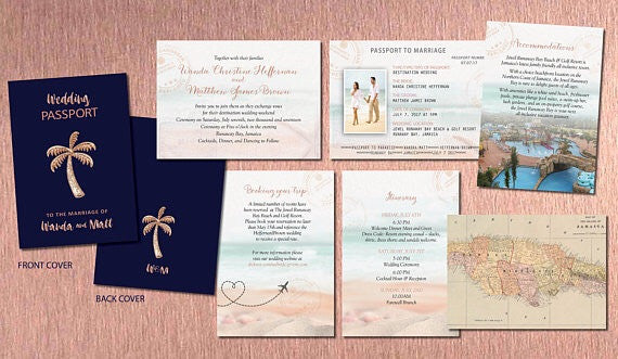Destination Wedding Passport Invitation Set in Rose Gold and Washed Tropical Design - idowithyouweds