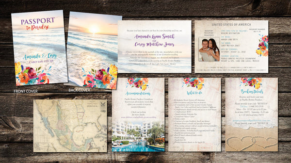 Passport Boho Destination Wedding Invites | Bright Tropical Watercolor Flowers Ocean Background