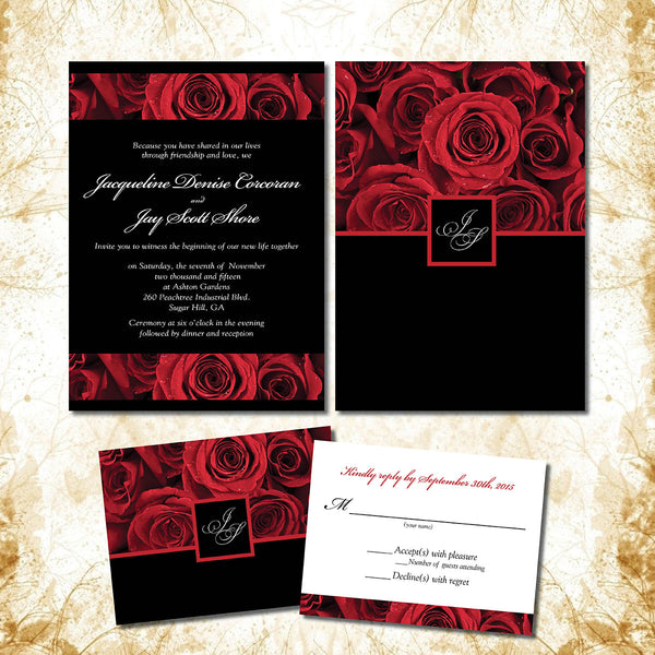 Red Rose Invitations for your Local Wedding | Deep Crimson with Black Background | Romantic Rich Elegant | Initials Monogram