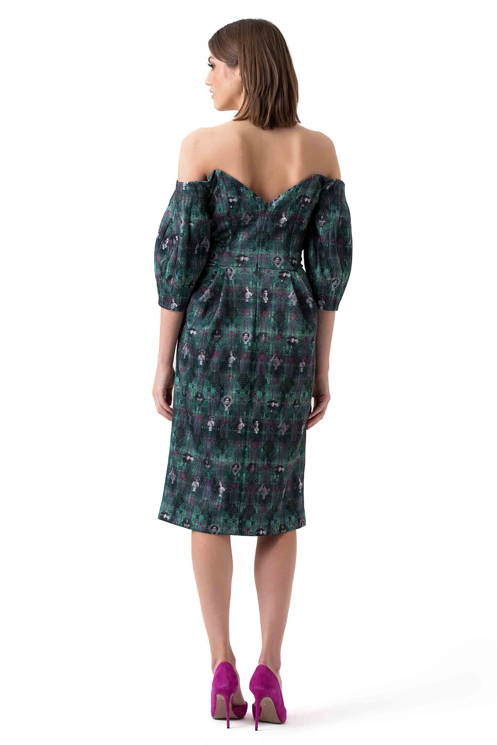 Morv London Green Printed Hedi Dress
