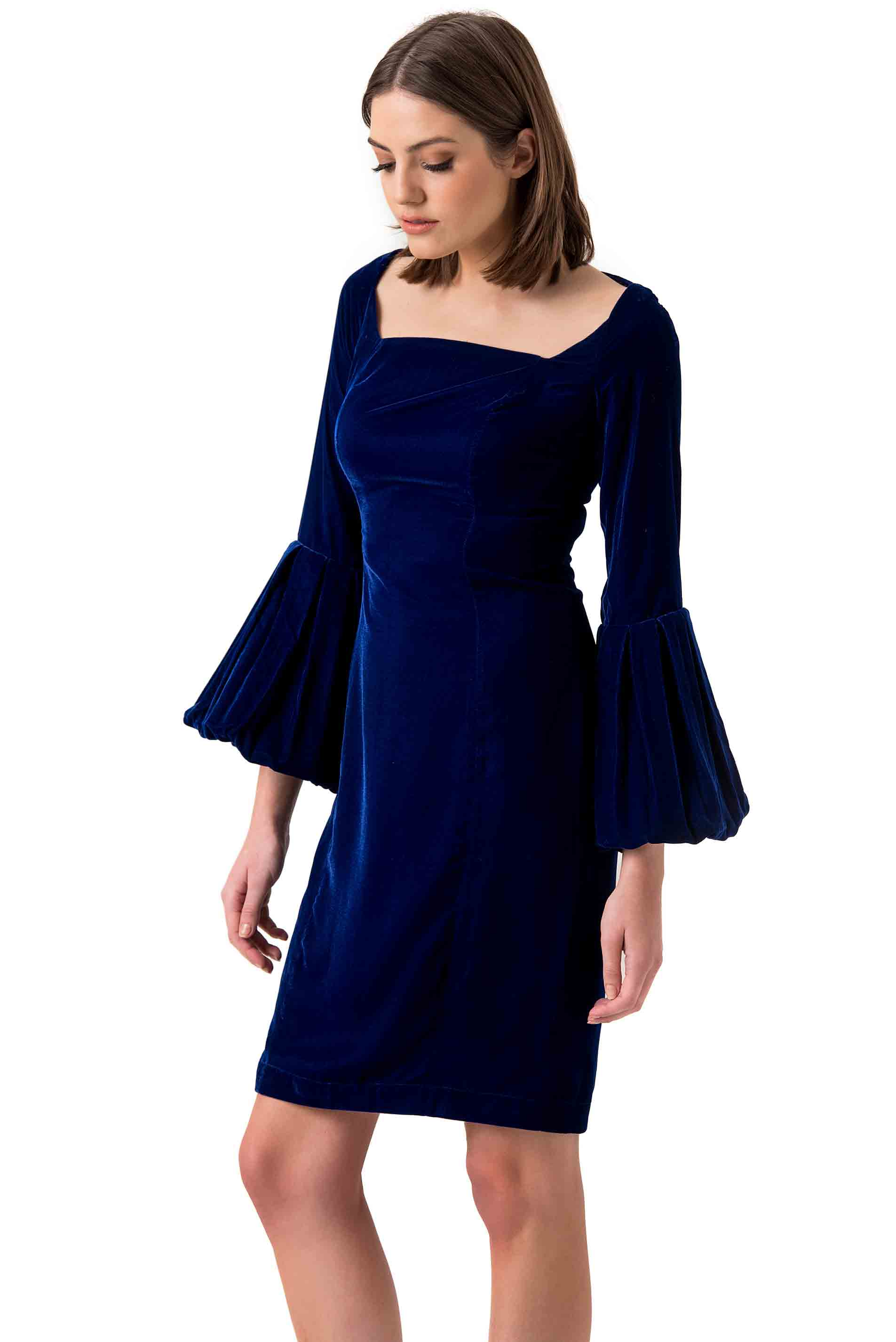 Morv London Blue Velvet Mini Dress
