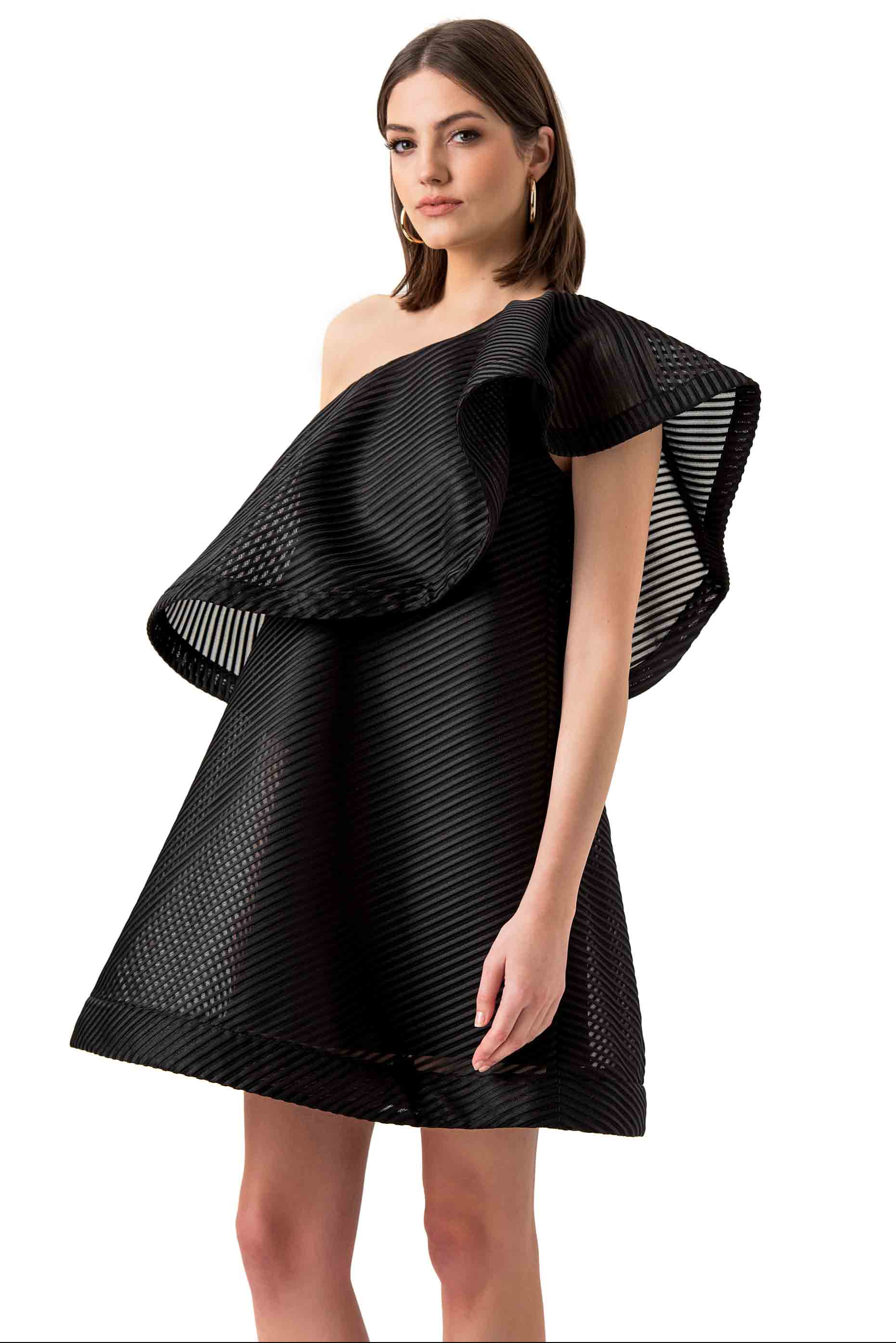 Halston Heritage Black One-Shoulder Mesh Mini Dress