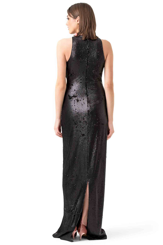 Halston Heritage Black Sequin Evening Gown