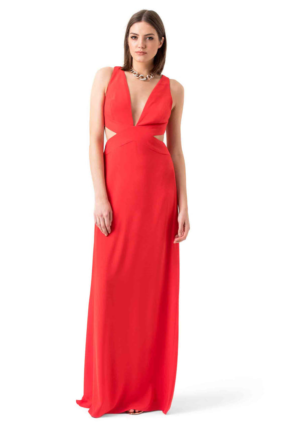 Red Cutout Evening Gown
