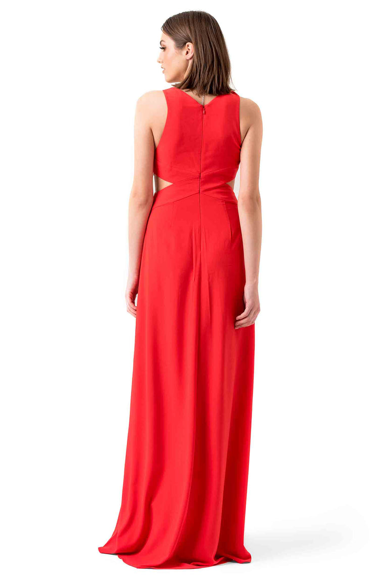 Halston Heritage Red Cutout Evening Gown