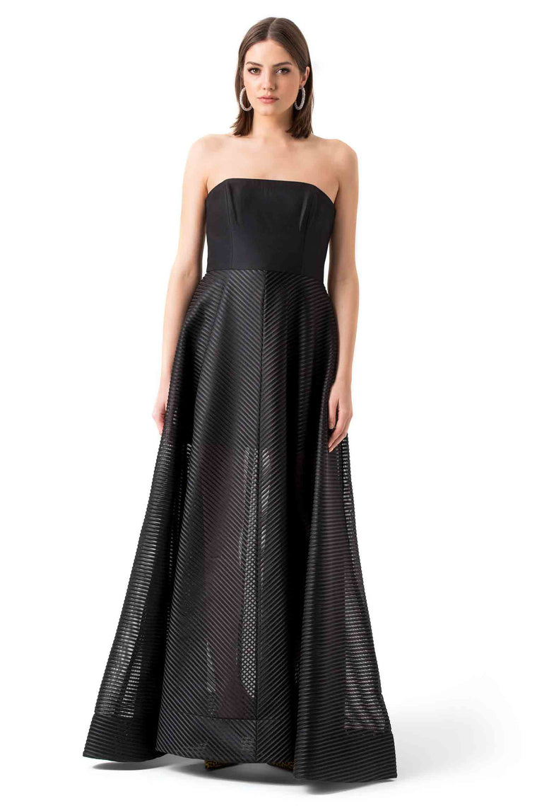 Black Strapless Mesh Evening Gown