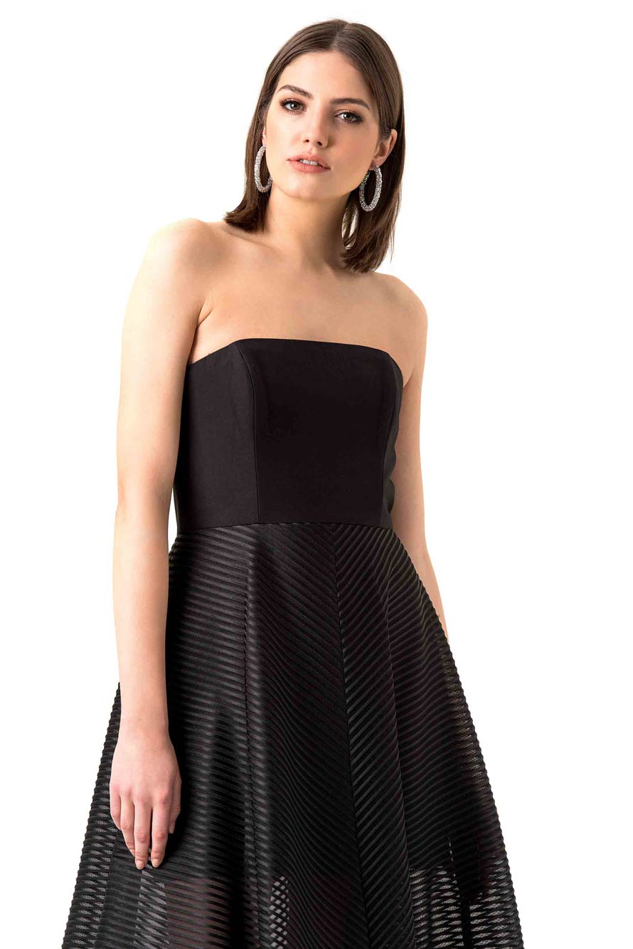 Halston Heritage Black Strapless Mesh Evening Gown – Hire That Look