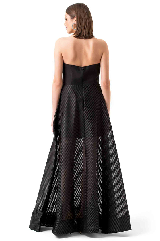 Halston Heritage Black Strapless Mesh Evening Gown