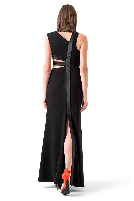 Halston Heritage Black Cutout Evening Gown