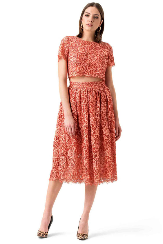 Peach Lace Sheer Panel Dress