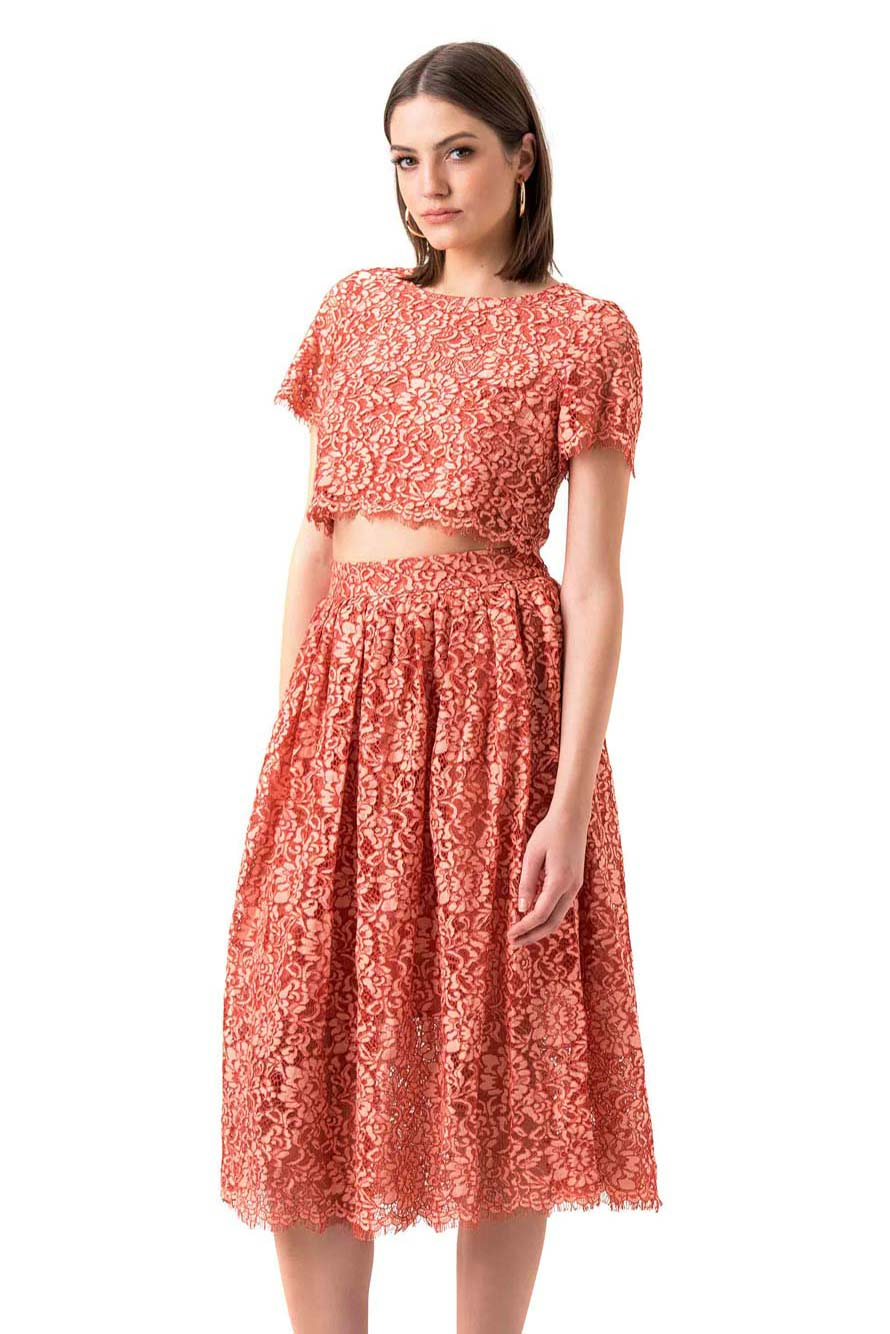 rue Decadence Peach Lace Sheer Panel Dress