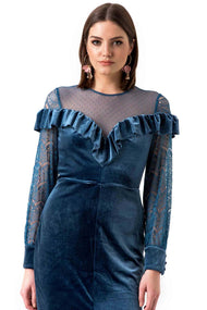True Decadence Blue Velvet Mesh Dress