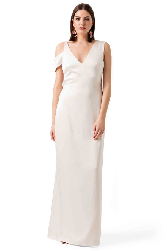 White Silky Evening Gown