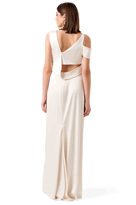 Halston Heritage White Silky Evening Gown