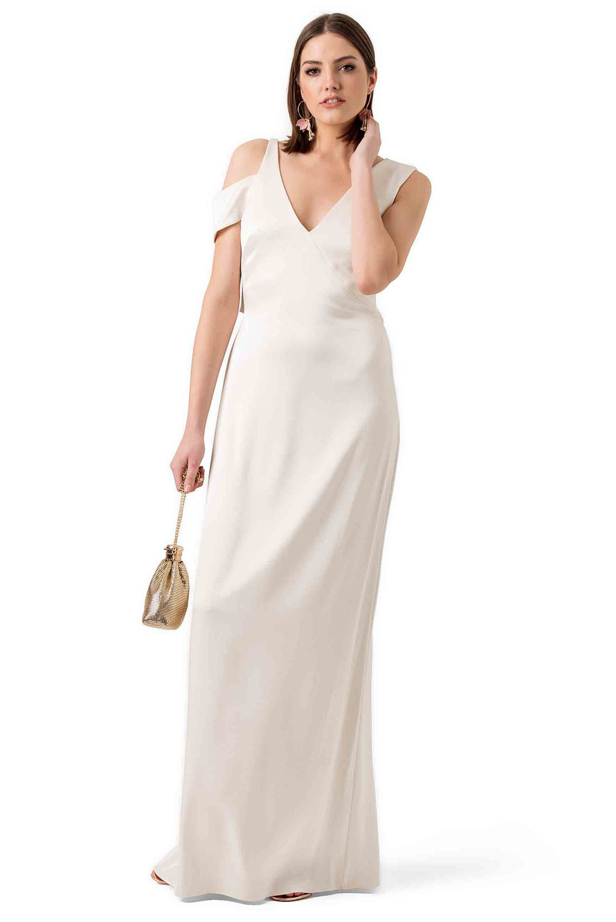 Halston Heritage White Silky Evening Gown – Hire That Look