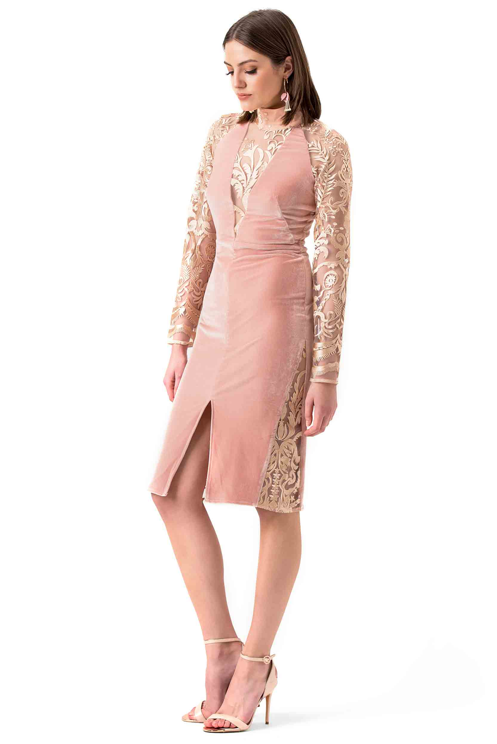 True Decadence Nude Velvet Long sleeved Midi Dress
