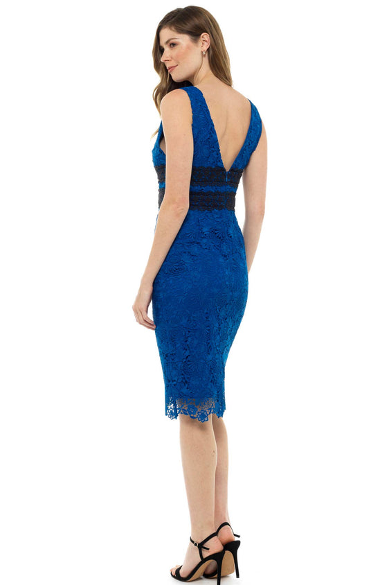 Diane Von Furstenberg Blue Lace Plunge Midi Dress