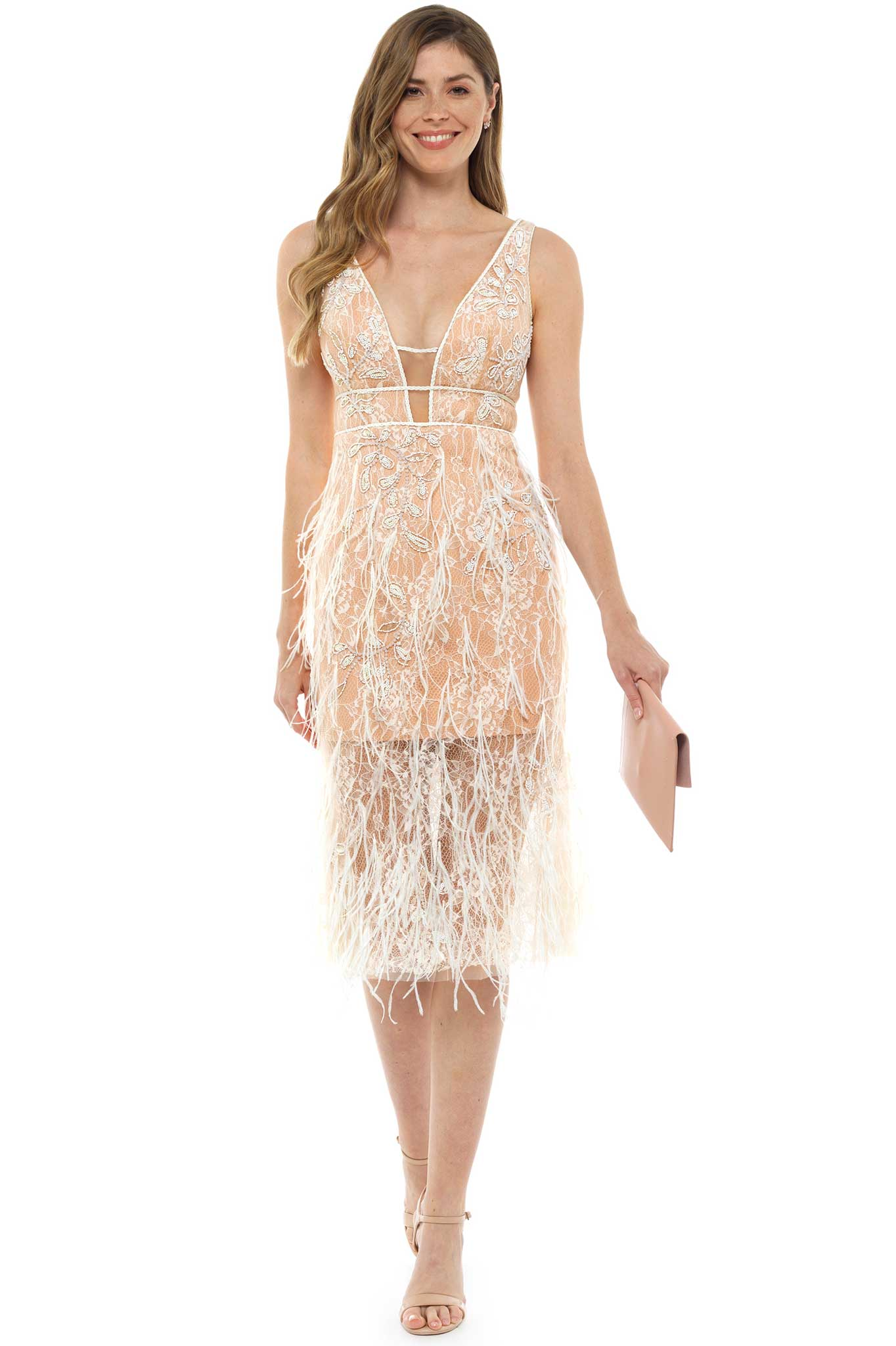 778c5ace98e Forever Unique Imogen Nude Feather Midi Dress – Hire That Look