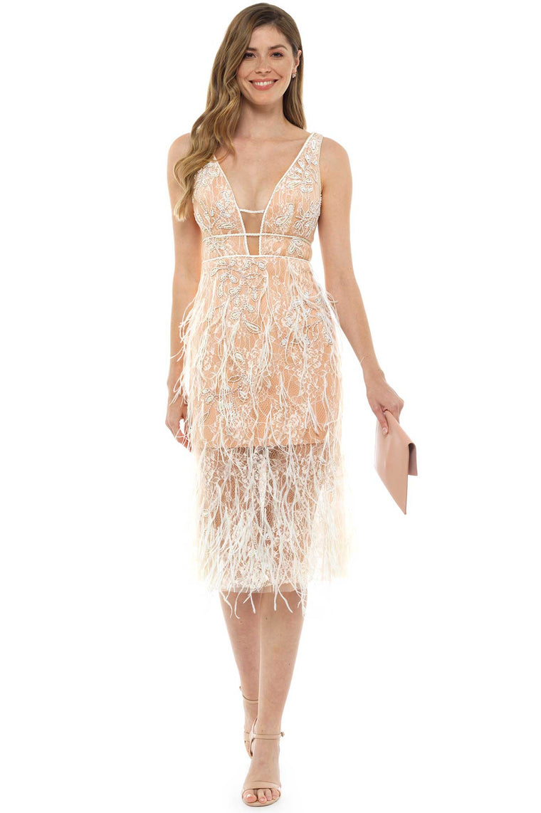 Imogen Nude Feather Midi Dress