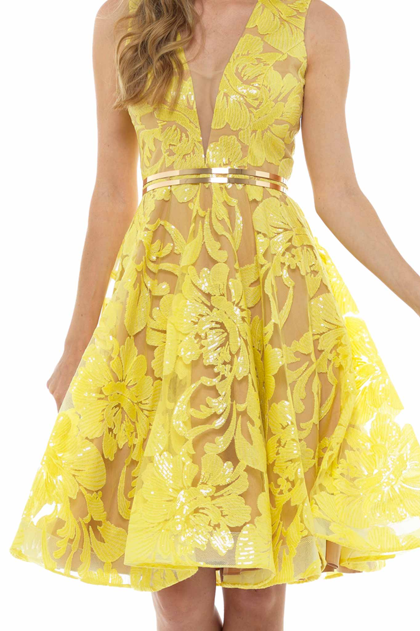Yellow Embroidered Flared Midi Dress