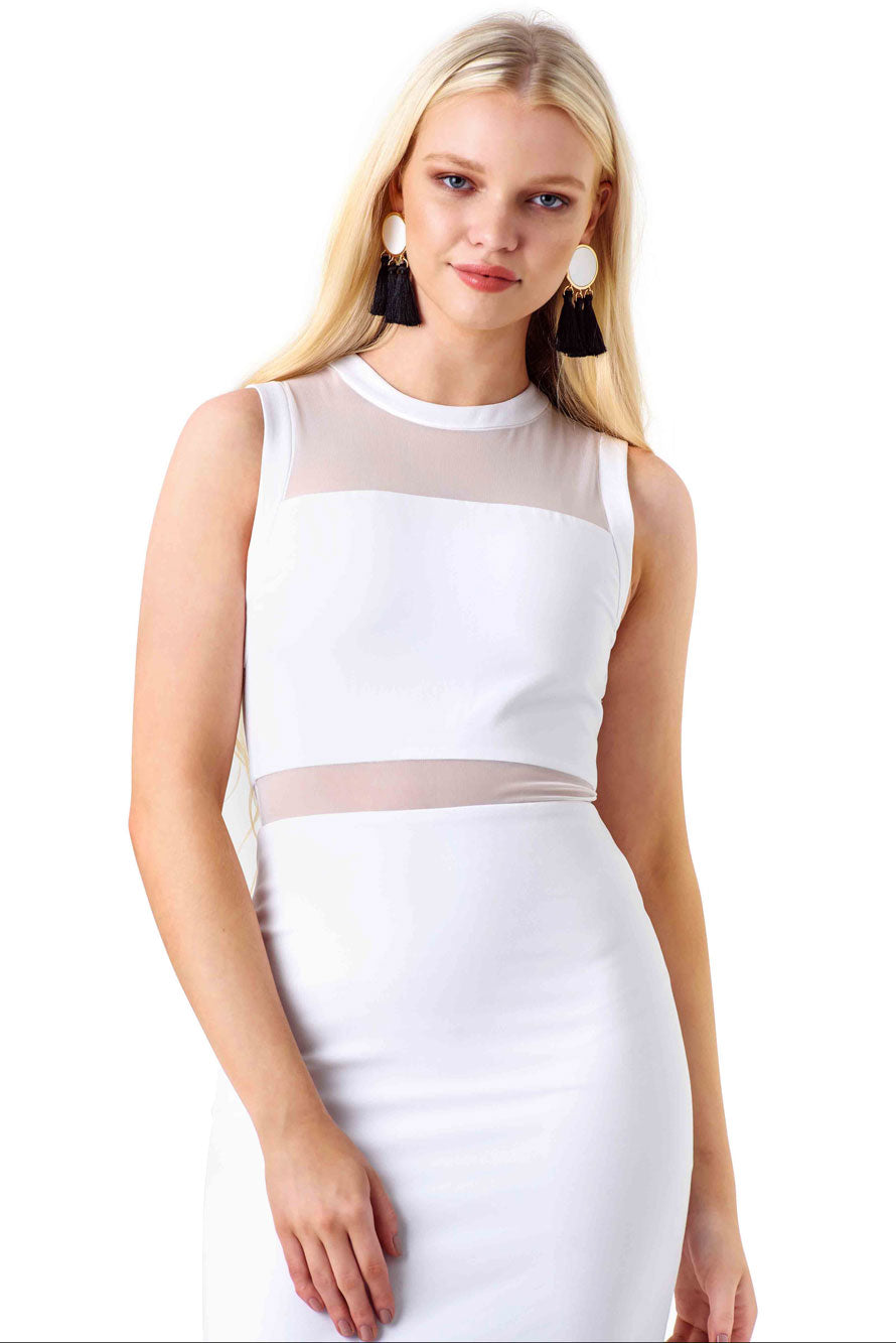 Alice and Olivia White Mesh Panel Midi Dress