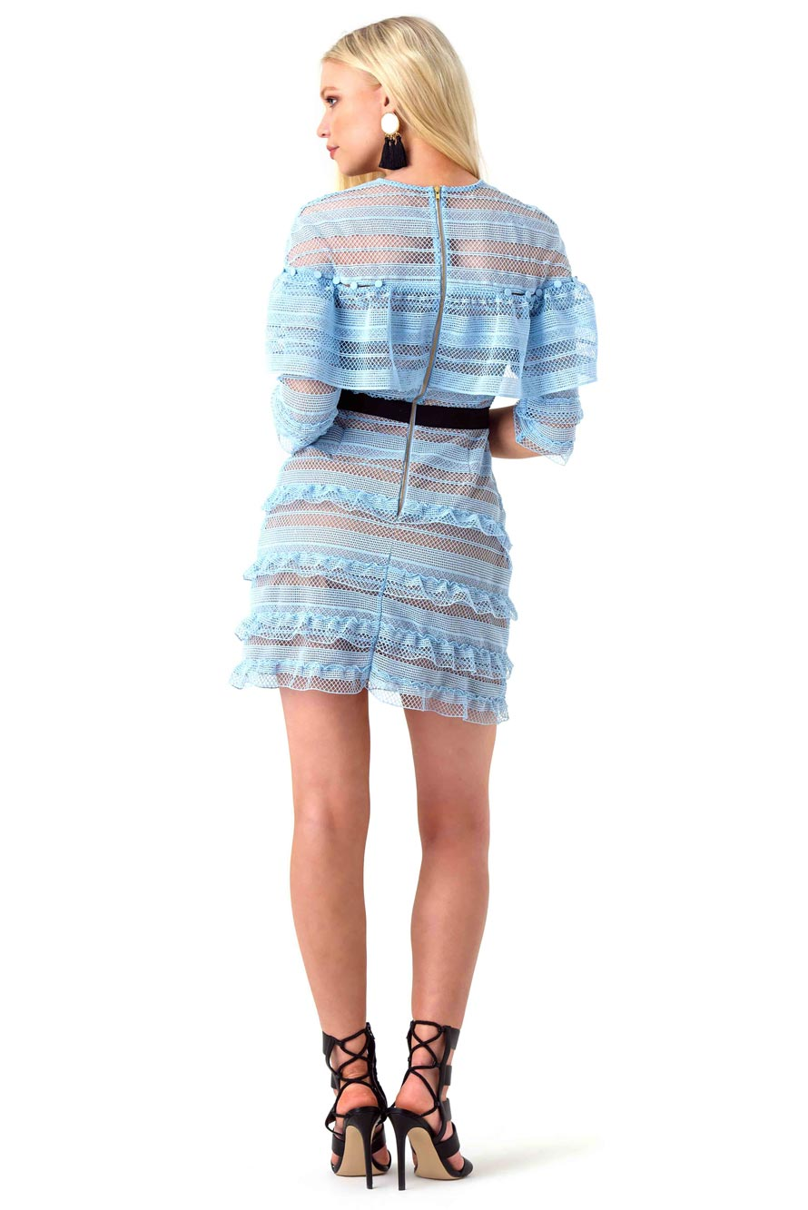 Self Portrait Blue Ruffled Lace Mini Dress