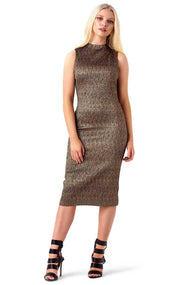 Alice and Olivia Gold Jaquard Marcella Dress