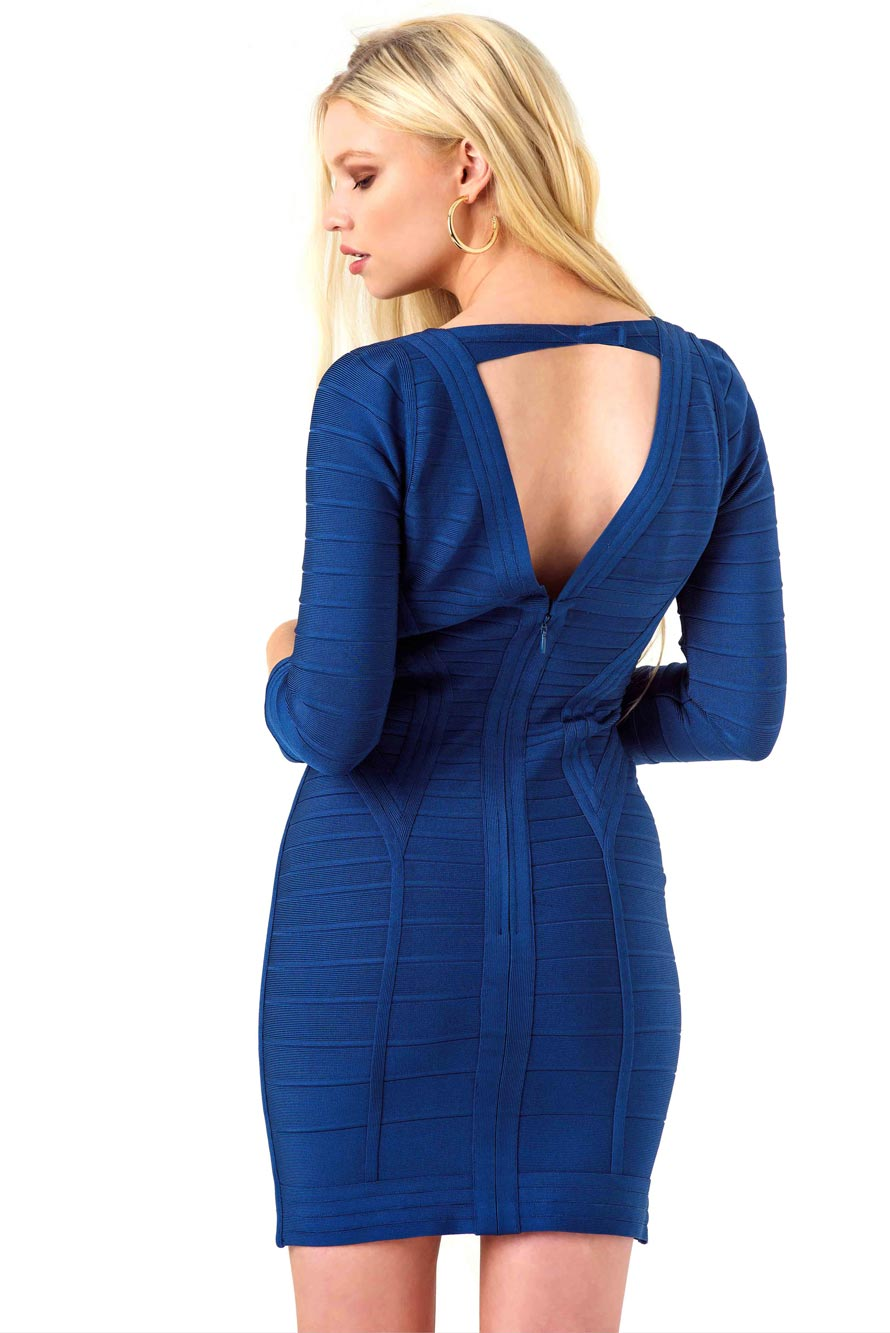 Herve Leger Blue Bandage Mini Dress