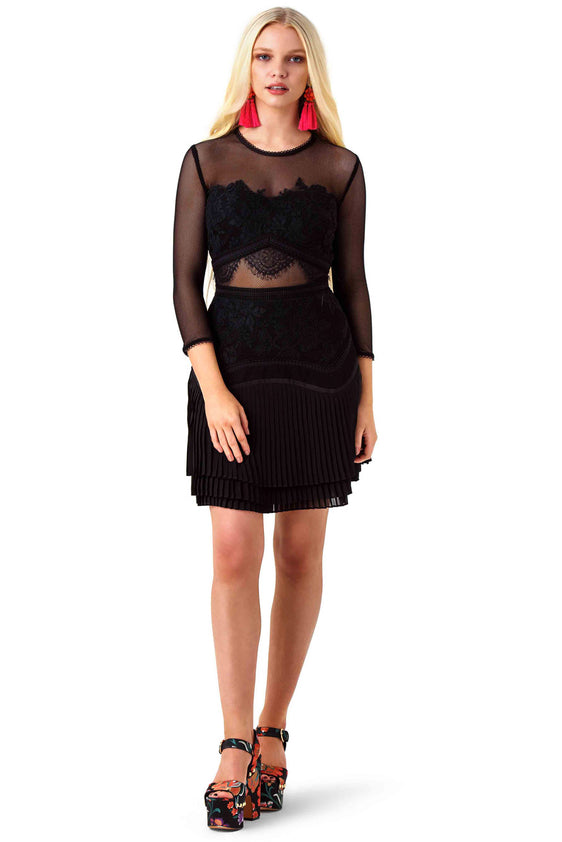 Black Sheer Panel Fortune Dress