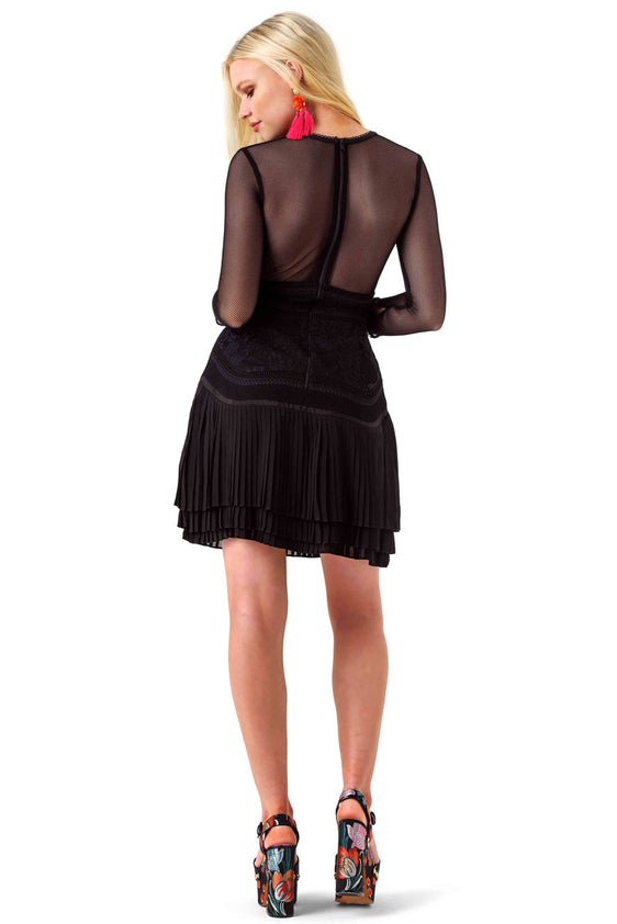 Three Floor Black Sheer Panel Fortune Dress