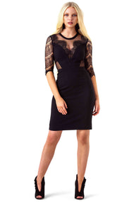 Three Floor Black Sheer Panel Lucha Dress