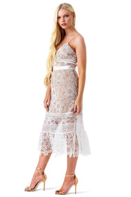 Self Portrait Blush Ruffled Guipere Lace Dress