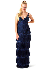 Marchesa Notte Navy Fringed Gown