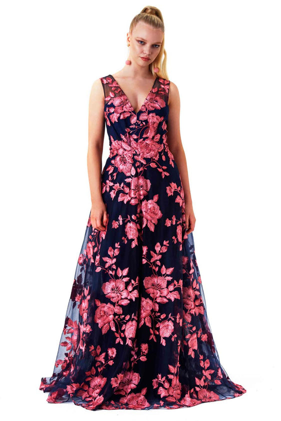 Navy and Pink Floral Gown