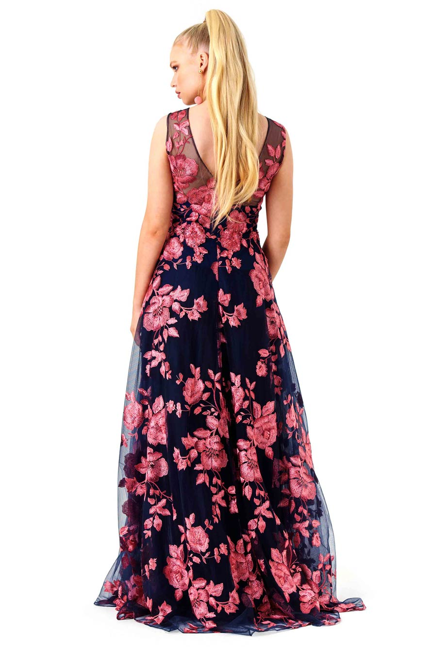 Marchesa Notte Navy and Pink Floral Gown