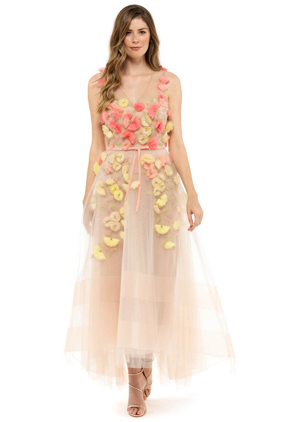 Pink 3D Applique Gown