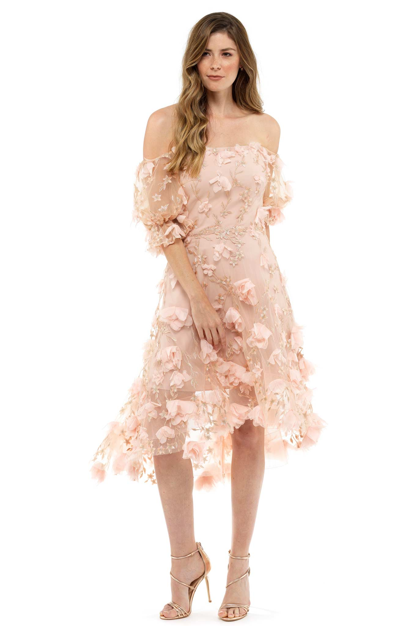 Pink Floral Asymmetric Evening Dress