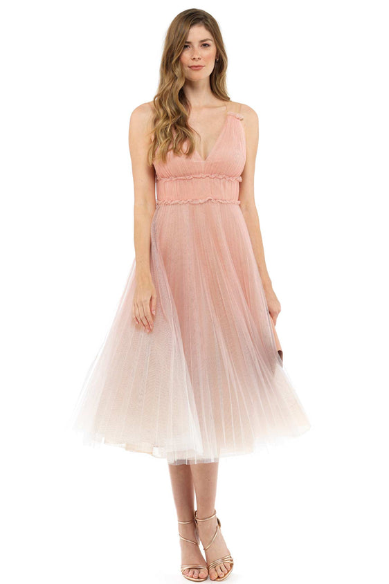 Ombre Pink Pleated Tea Dress